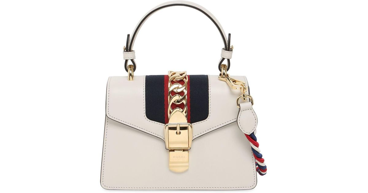 Sylvie Mini Chain-embellished Leather Shoulder Bag - White Gucci TDMxu