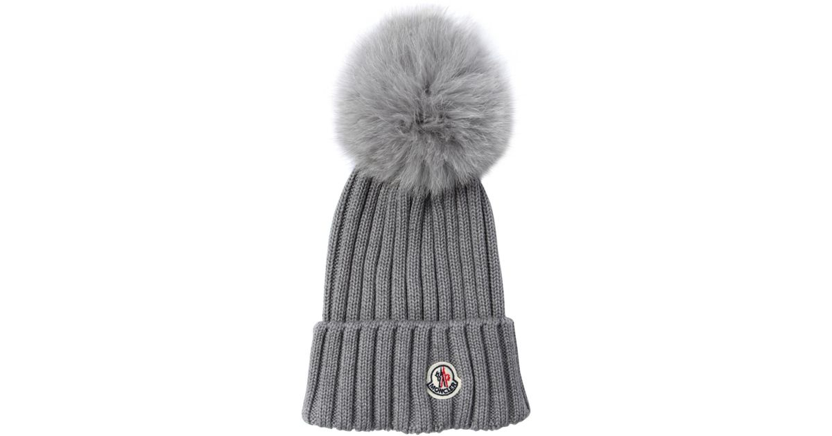 1bc4bde994c Lyst - Moncler Wool Knit Beanie Hat W  Fox Pompom in Gray