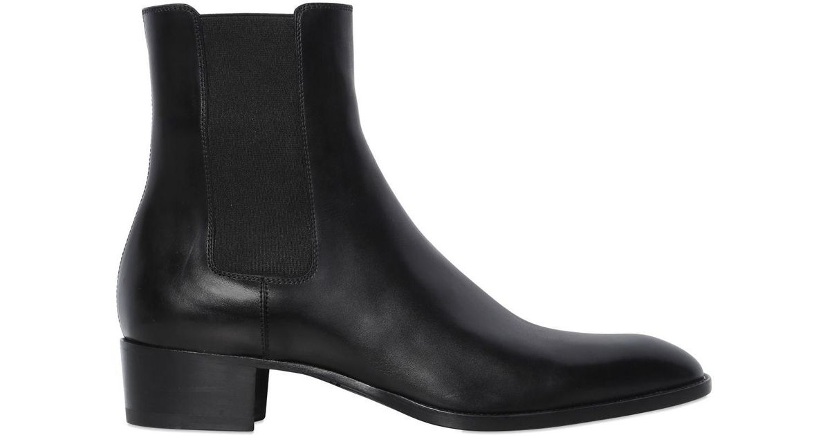 f7a379be Saint Laurent Black 40mm Wyatt Leather Chelsea Boots