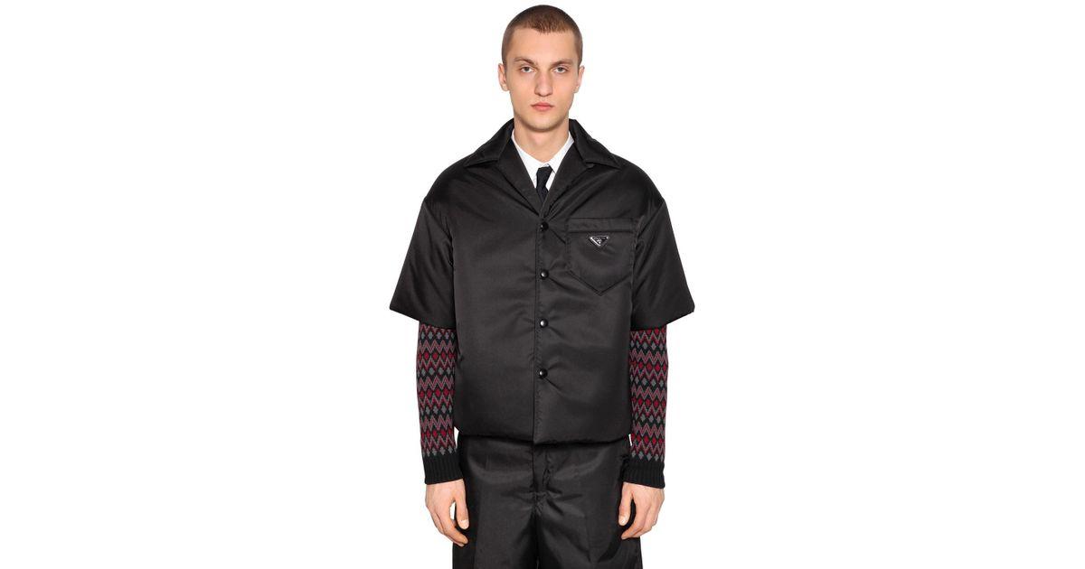 ea8ddb75fd Prada Black Nylon Gabardine Bowling Shirt Jacket for men