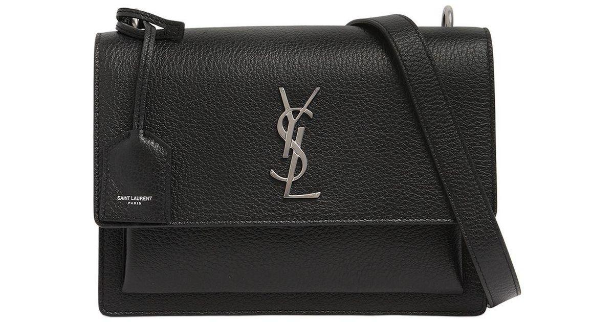 42c65a3e1dc8 Lyst - Saint Laurent Medium Sunset Monogram Grained Leather in Black