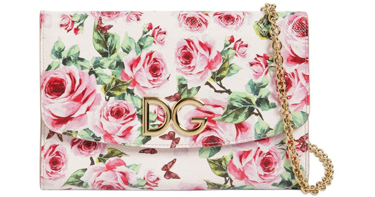 5e83b7b2 Dolce & Gabbana Rose Printed Dauphine Leather Clutch in Pink - Lyst