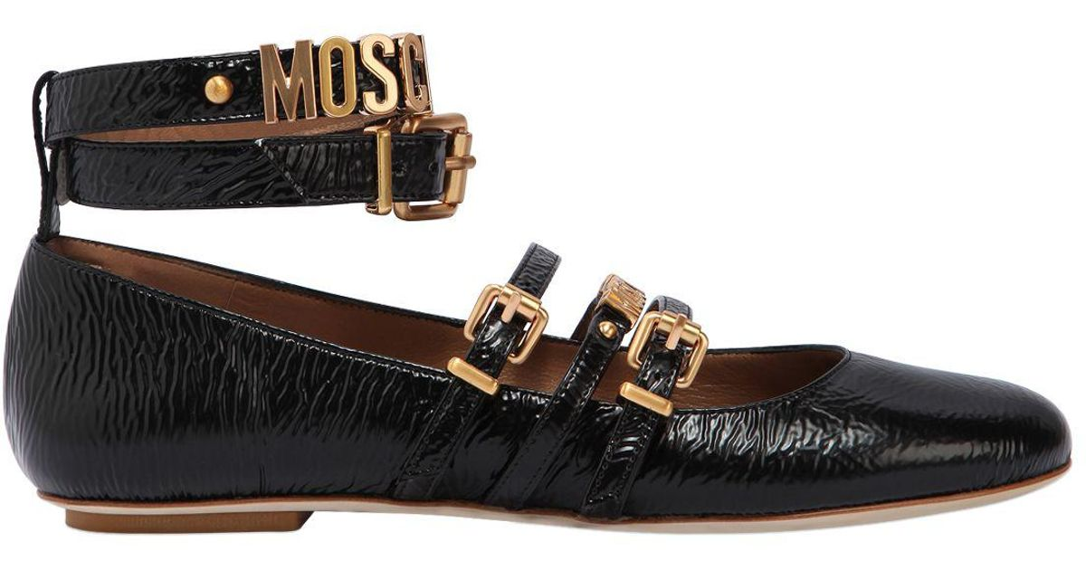 MOSCHINO Leather Logo Ballet Flat