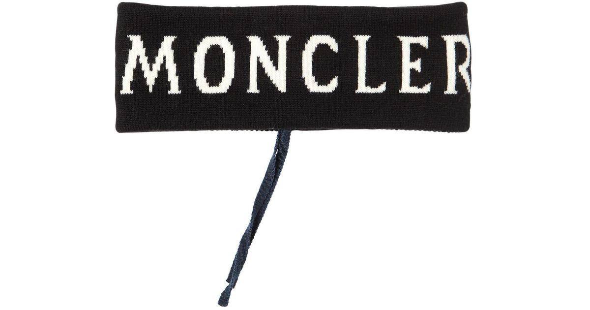 Moncler Wolle Stirnband Aus Wollstrick Mit Logo in Schwarz