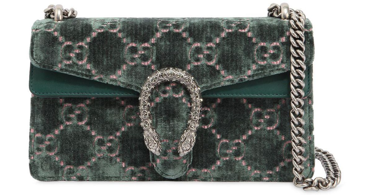 57be4144f Gucci Small Dionysus Gg Velvet Shoulder Bag in Green - Lyst