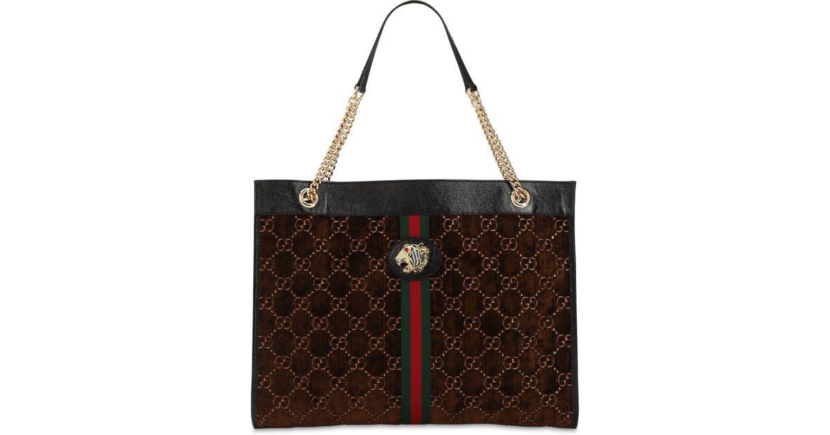 158c4bfb Gucci Brown Large Rajah Gg Velvet Tote Bag