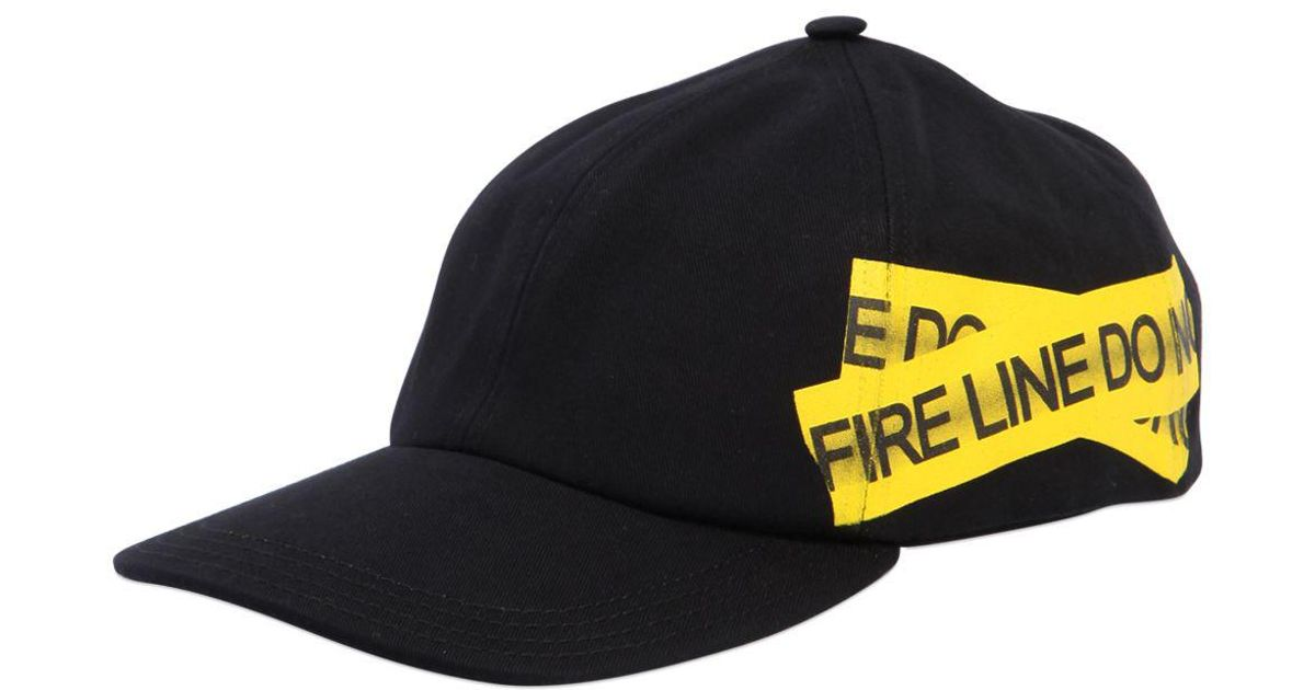 a0ceb0856a211c Off-White c/o Virgil Abloh Fire Line Tape Canvas Baseball Hat in Black for  Men - Lyst