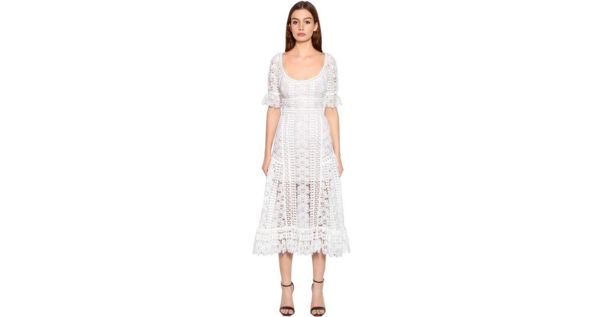 954495ecbc4bb Self-Portrait Scoop-neck Empire-waist Floral Lace Guipure Midi Dress in  White - Lyst