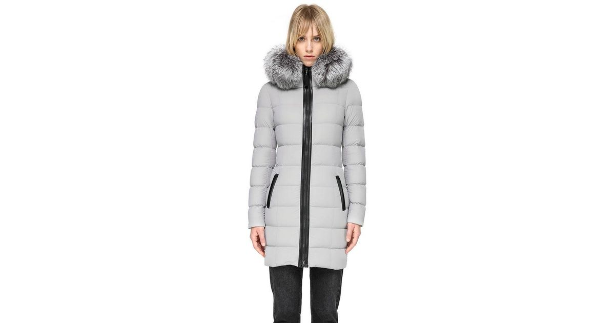 e2c08d32dd7 Mackage Gray Calla Lightweight Down Coat With Fur Trimmed Hood In Mineral