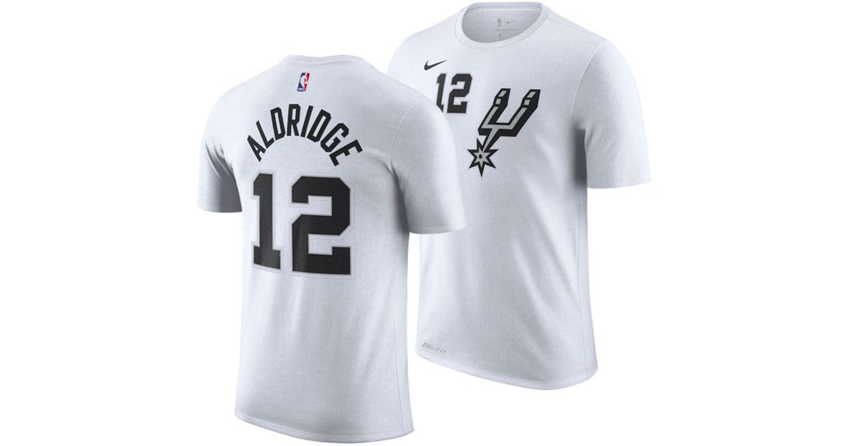 release date: 256cf 4d0cf Nike White Lamarcus Aldridge San Antonio Spurs Earned Edition Player  T-shirt for men