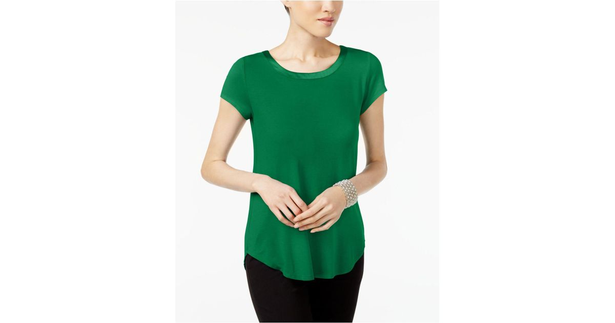 19b2e1a8 Lyst - Alfani Petite Satin-trim High-low T-shirt, Created For Macy's in  Green