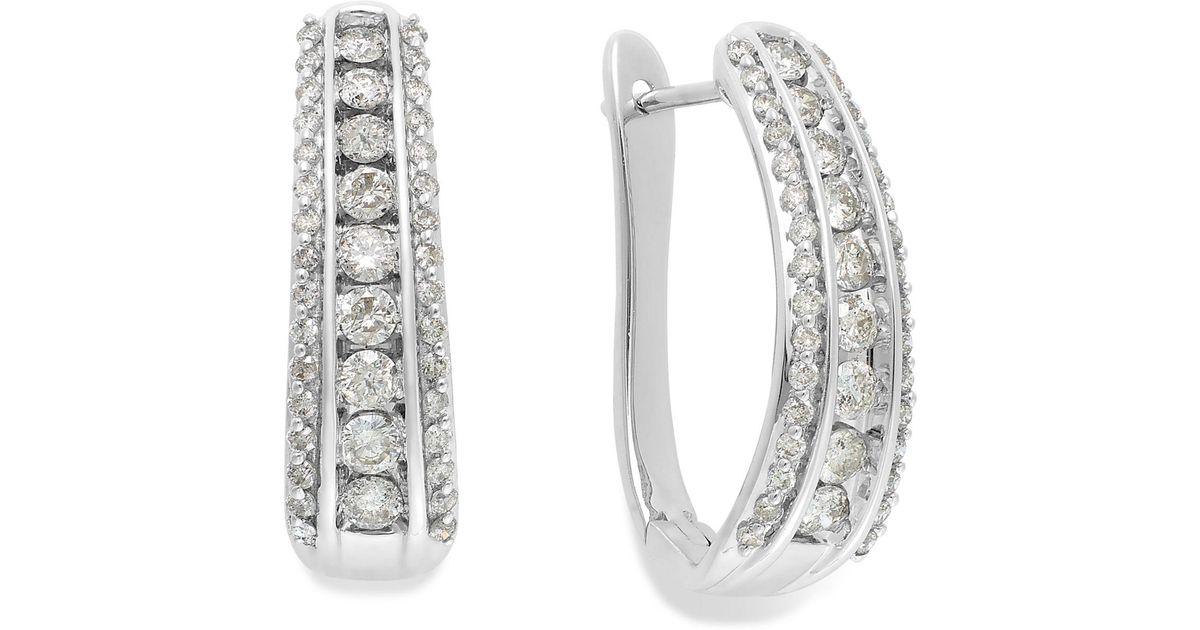 Lyst Macy S Diamond Channel J Hoop Earrings In 14k White Gold 1 Ct T W