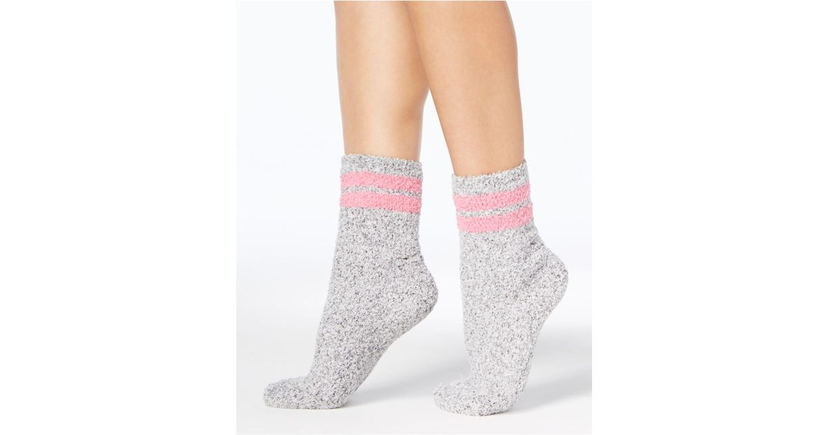 Charter Club Womens SUPER SOFT BUTTER SOCKS Grey with Pink $10 NWT