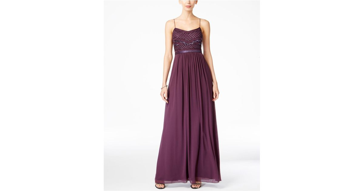 Lyst - Adrianna Papell Beaded Chiffon Gown in Purple
