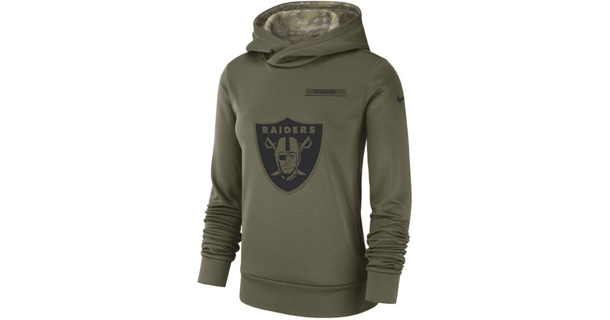 reputable site 5d7f6 5ed72 Nike Green Oakland Raiders Salute To Service Therma Hoodie