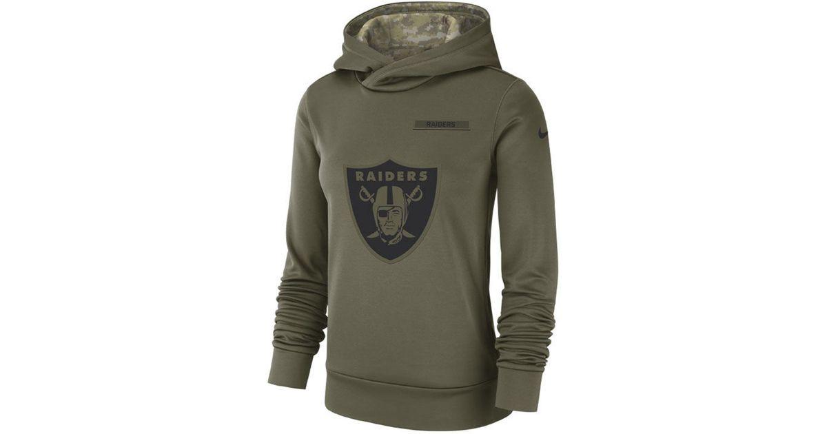 reputable site f3365 c0b74 Nike Green Oakland Raiders Salute To Service Therma Hoodie