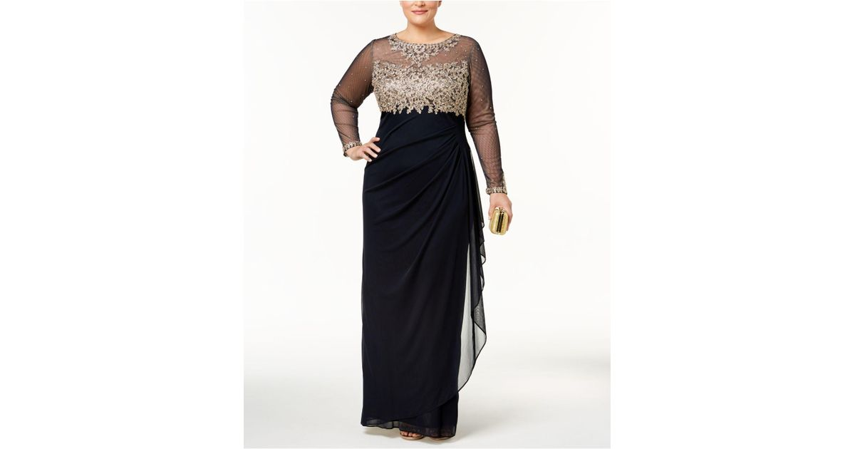 Xscape Plus Size Embroidered Illusion Gown in Blue - Lyst