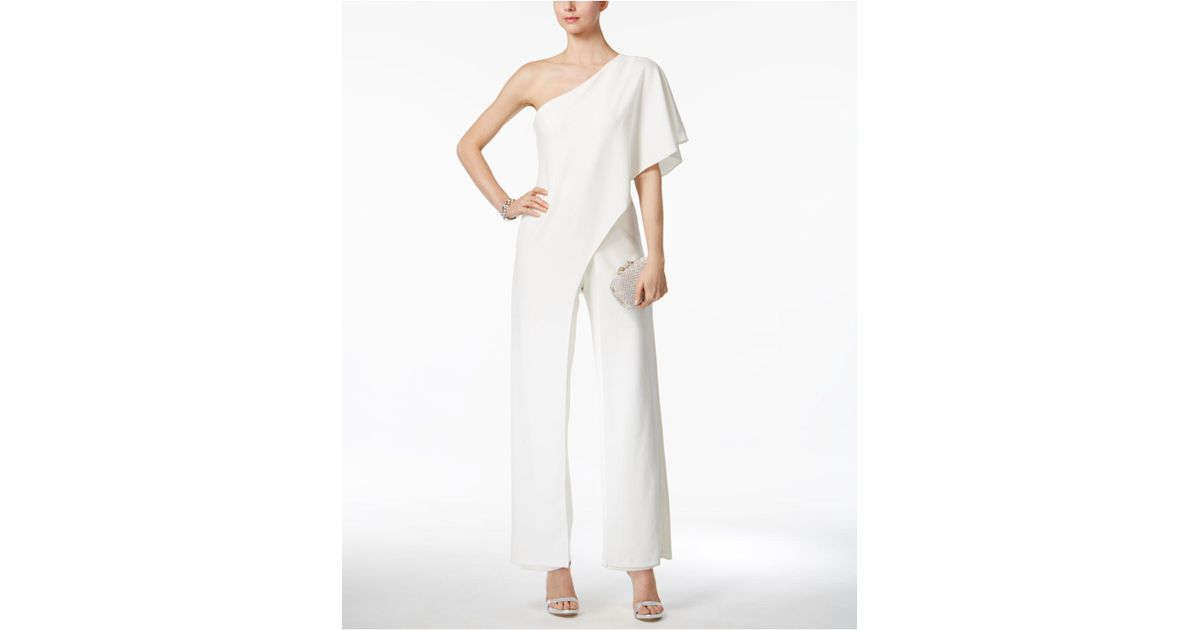 Lyst Adrianna Papell Draped One Shoulder Jumpsuit In White