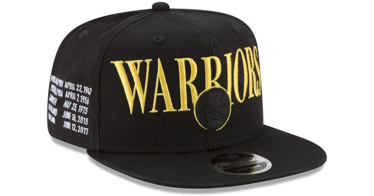 d3faf8d2f KTZ Black Golden State Warriors 90s Throwback Roadie 9fifty Snapback Cap  for men