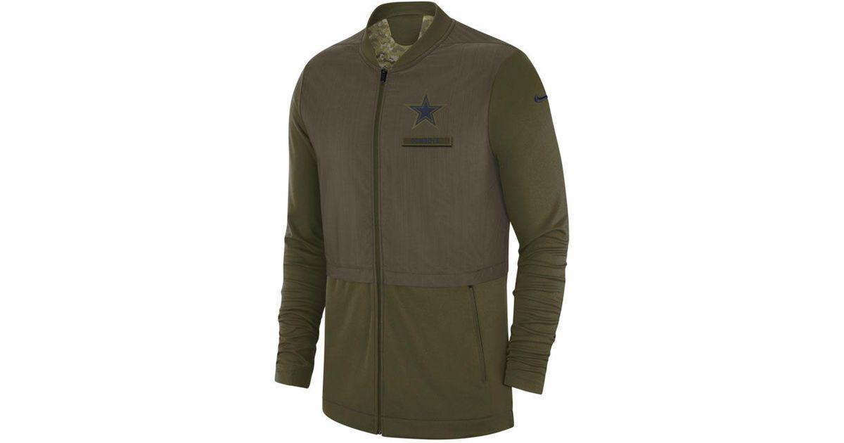 half off e0619 f1ca2 Nike Green Dallas Cowboys Salute To Service Elite Hybrid Jacket for men