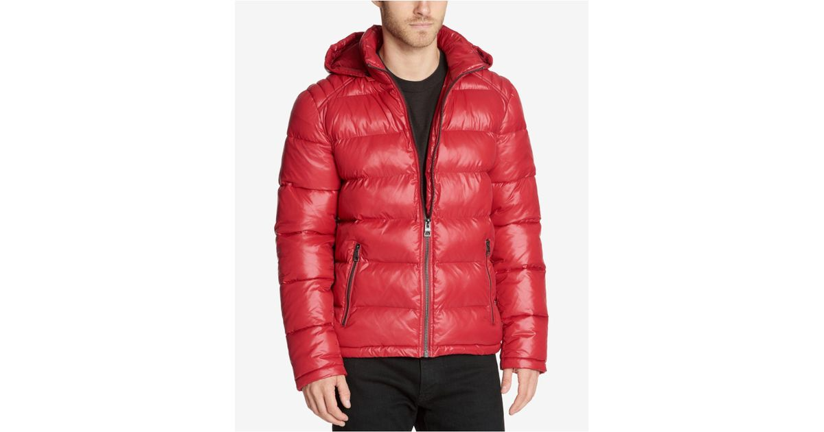 0052707c69f8 Lyst - Guess Men s Hooded Puffer Coat in Red for Men