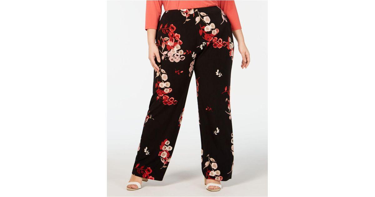 0e5b8c733ca Lyst - Alfani Plus Size Printed Wide-leg Pants