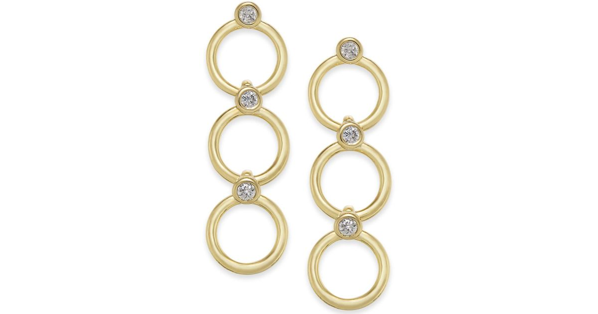 cfae0d699c17a Kate Spade - Metallic 14k Gold-plated Crystal & Circle Triple Drop Earrings  - Lyst