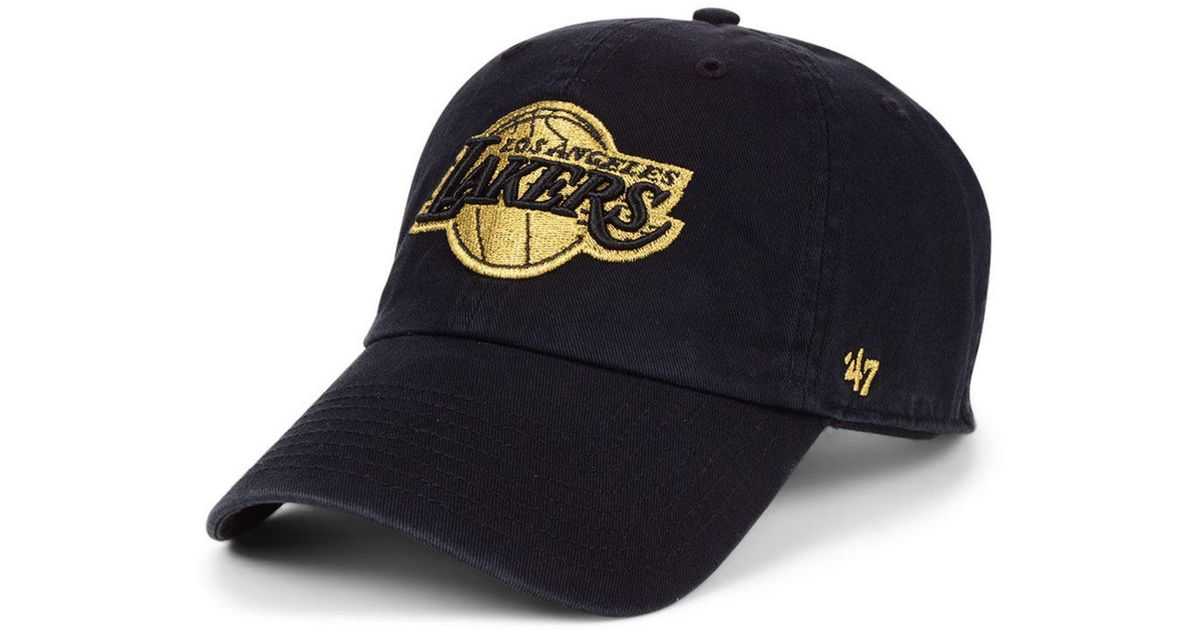 47 Brand Cotton Los Angeles Lakers Met Gold Clean Up Cap For Men Lyst
