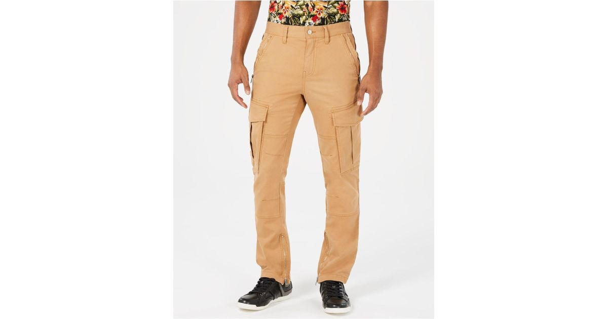 shop for official bright in luster good out x Guess Cotton Carter Twill Cargo Pants in Khaki (Natural) for ...