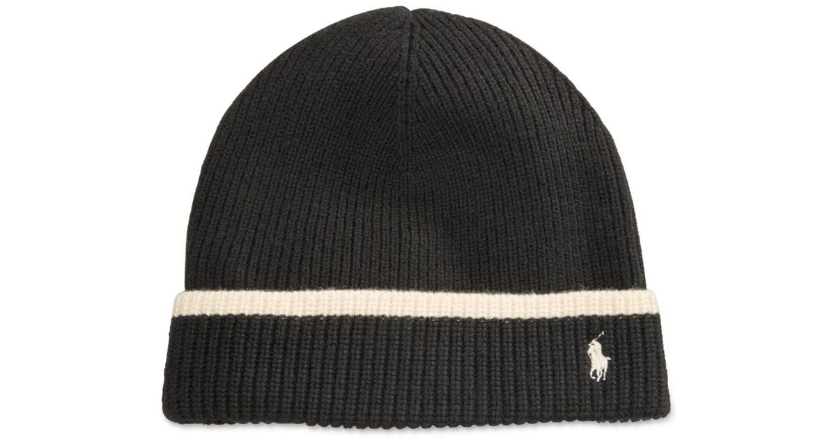 1304c0350 Polo Ralph Lauren Black Gift Giving Tipped Merino Cuff Hat for men