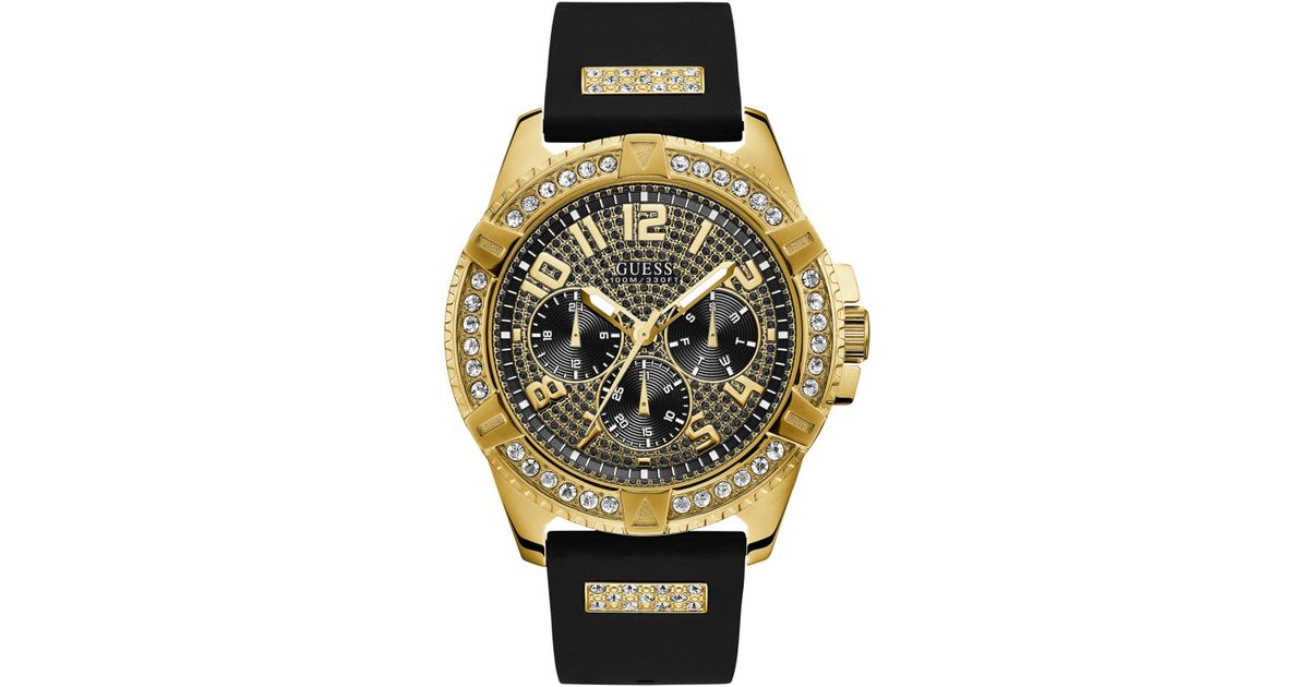 Guess Black Silicone Strap Watch 48mm For Men