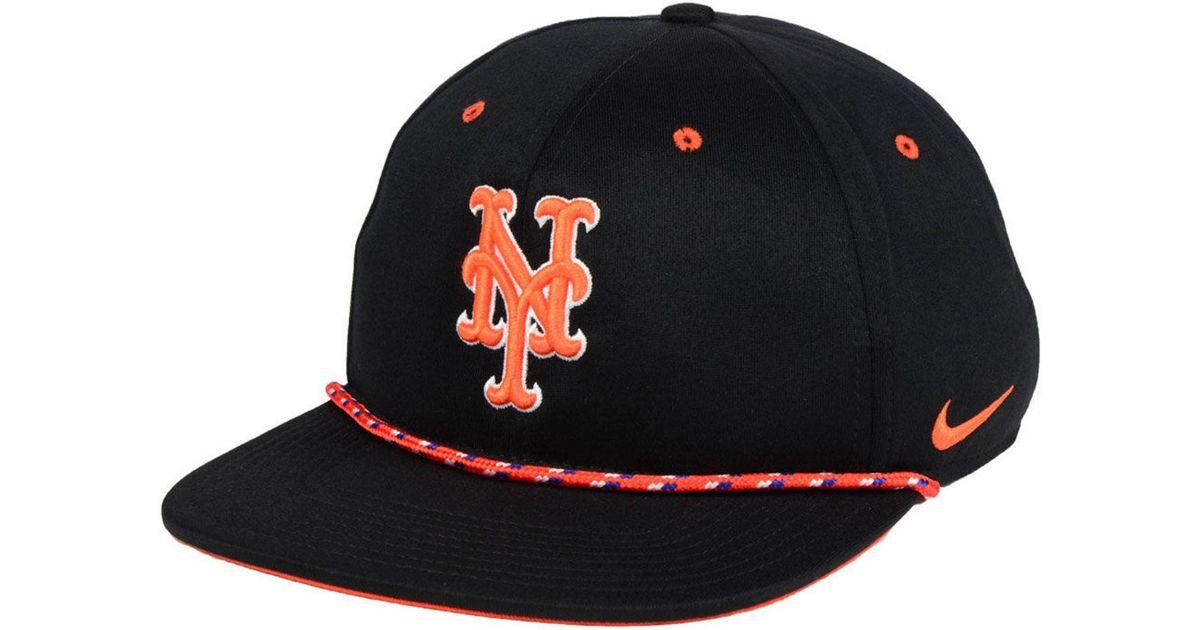 official photos 788b9 3ca0d Lyst - Nike New York Mets String Bill Snapback Cap in Black for Men