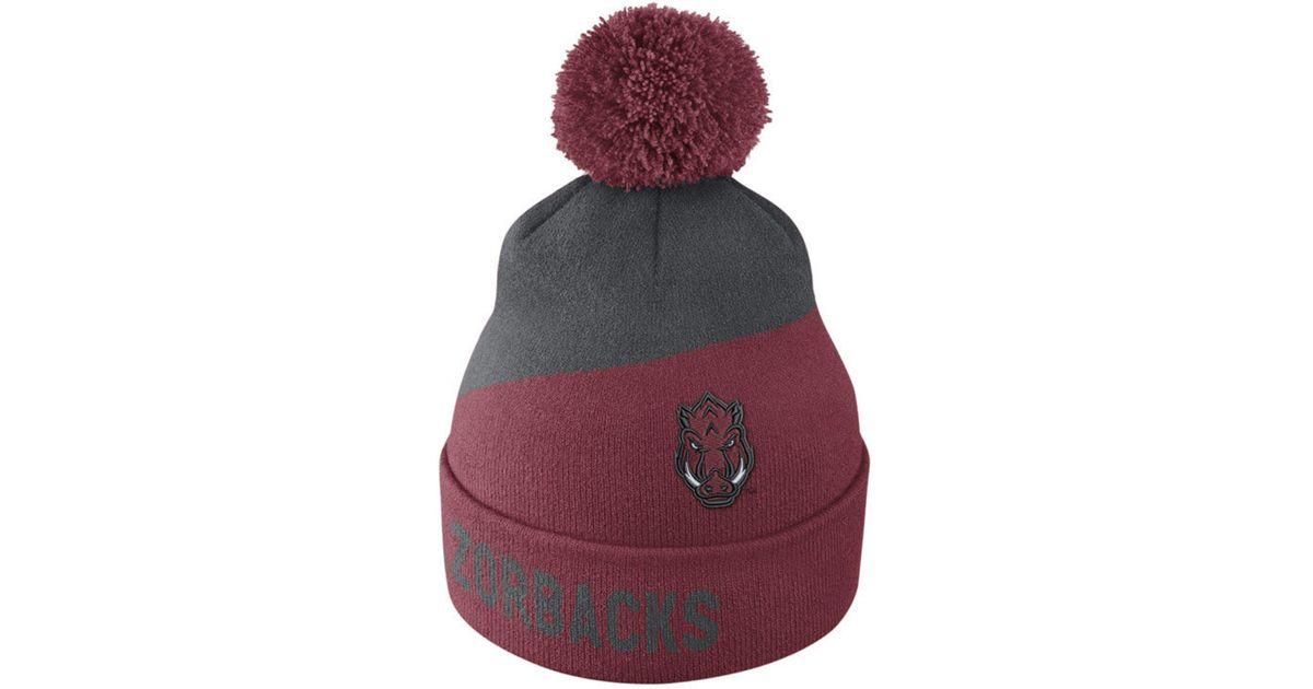 best service 99a76 6c583 Lyst - Nike Arkansas Razorbacks Champ Pom Knit Hat for Men