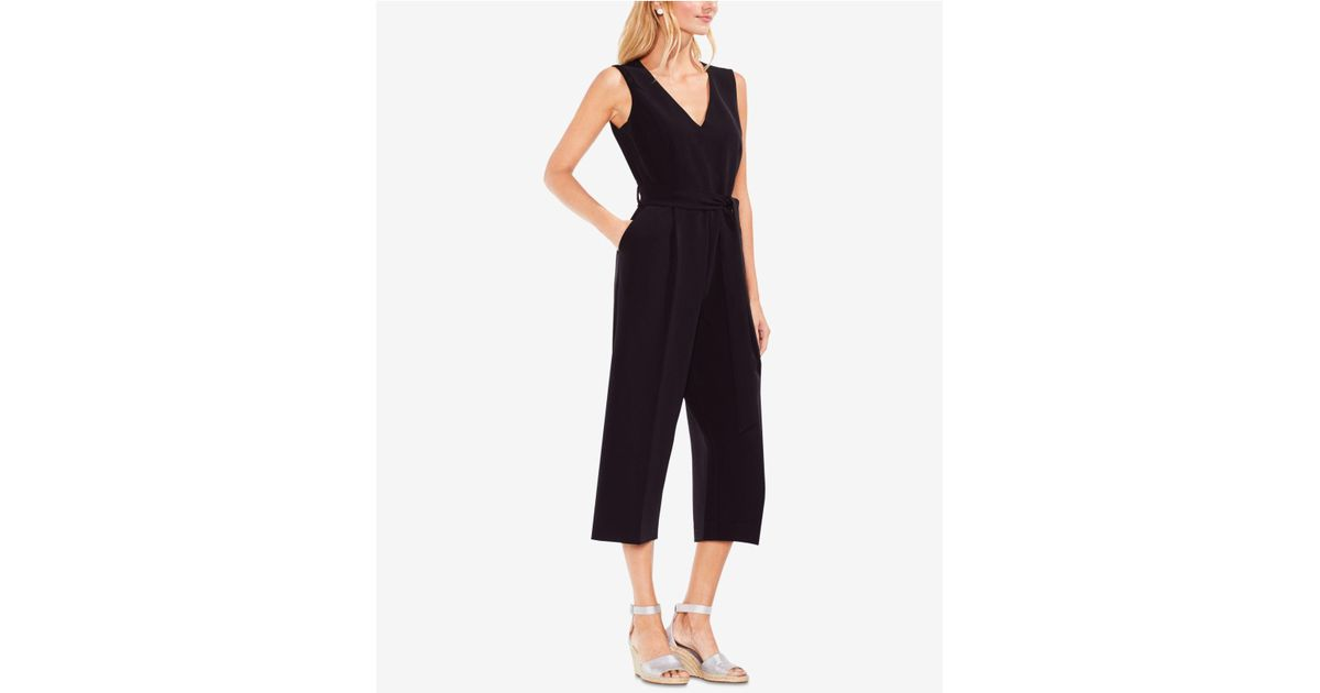 ab29f4b80697 Lyst - Vince Camuto Sleeveless Belted Wide-leg Jumpsuit in Black