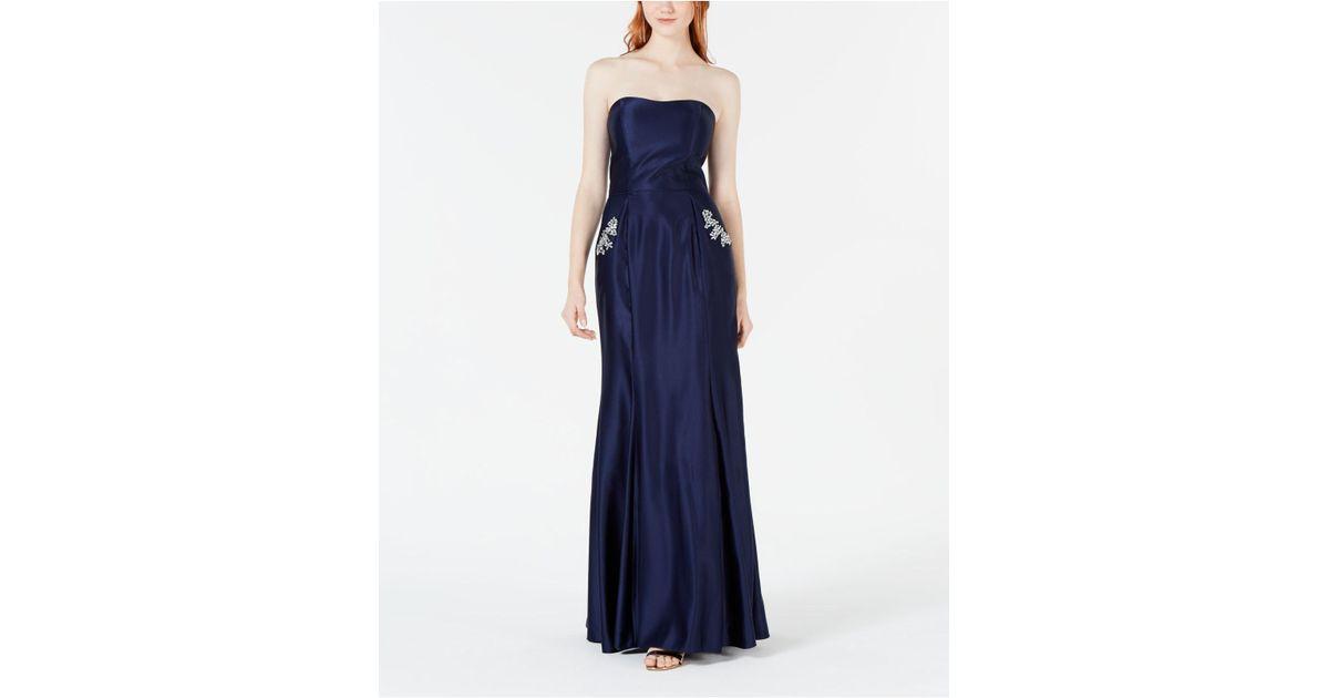 000fe947e Blondie Nites Juniors' Strapless Pocket-detail Gown in Blue - Lyst