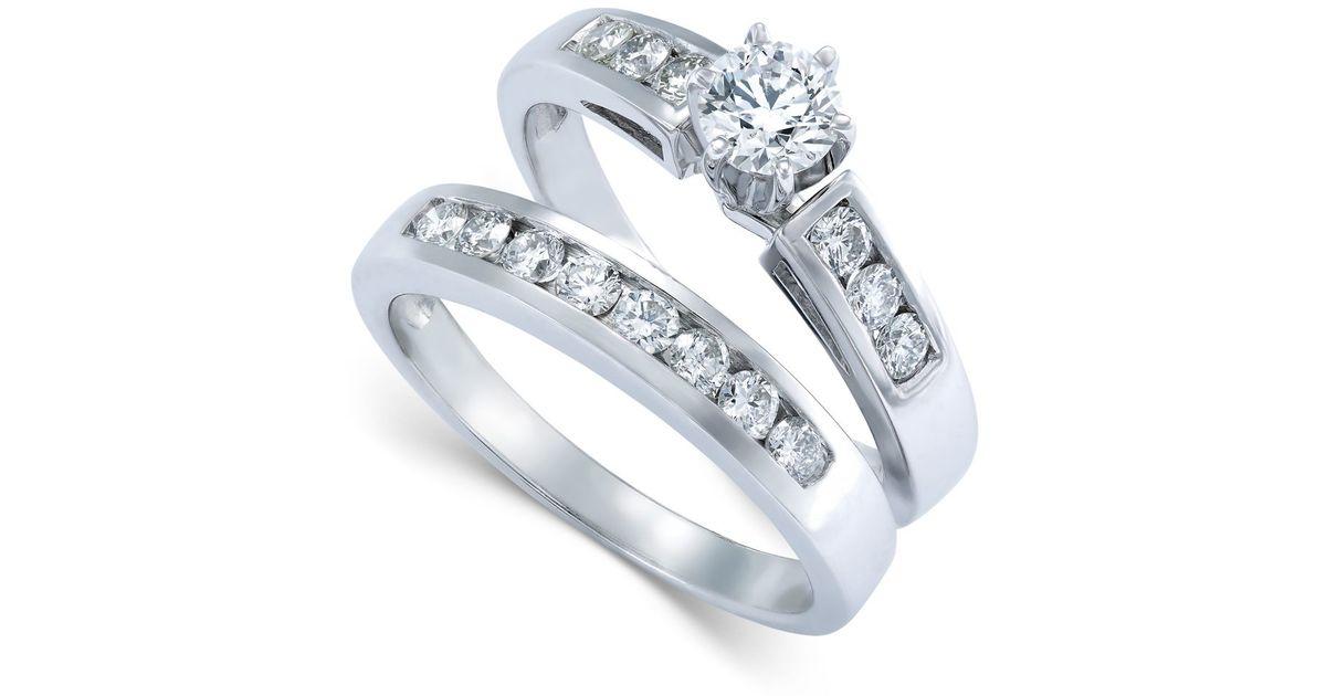 Macy s Diamond Engagement Ring Bridal Set In 14k White Gold 9 10 Ct T w