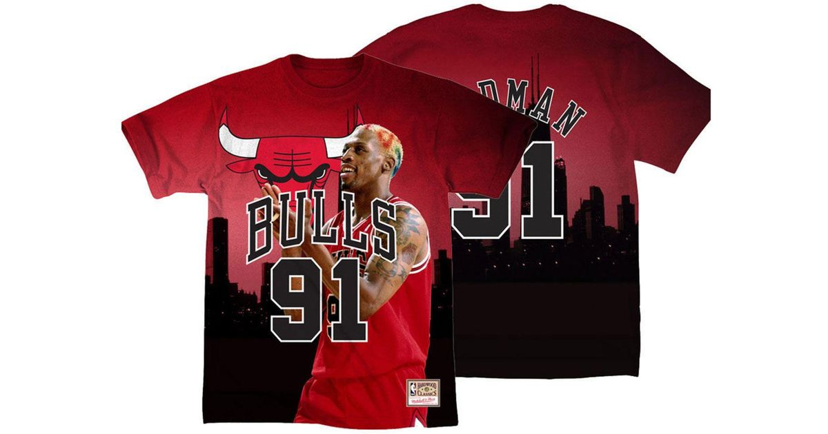 save off 6b04d aadd7 Mitchell & Ness Red Dennis Rodman Chicago Bulls City Pride Name And Number  T-shirt for men