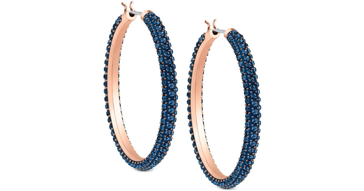 Lyst Swarovski Two Tone Blue 1 4 Crystal Hoop Earrings Save 25 21008403361344