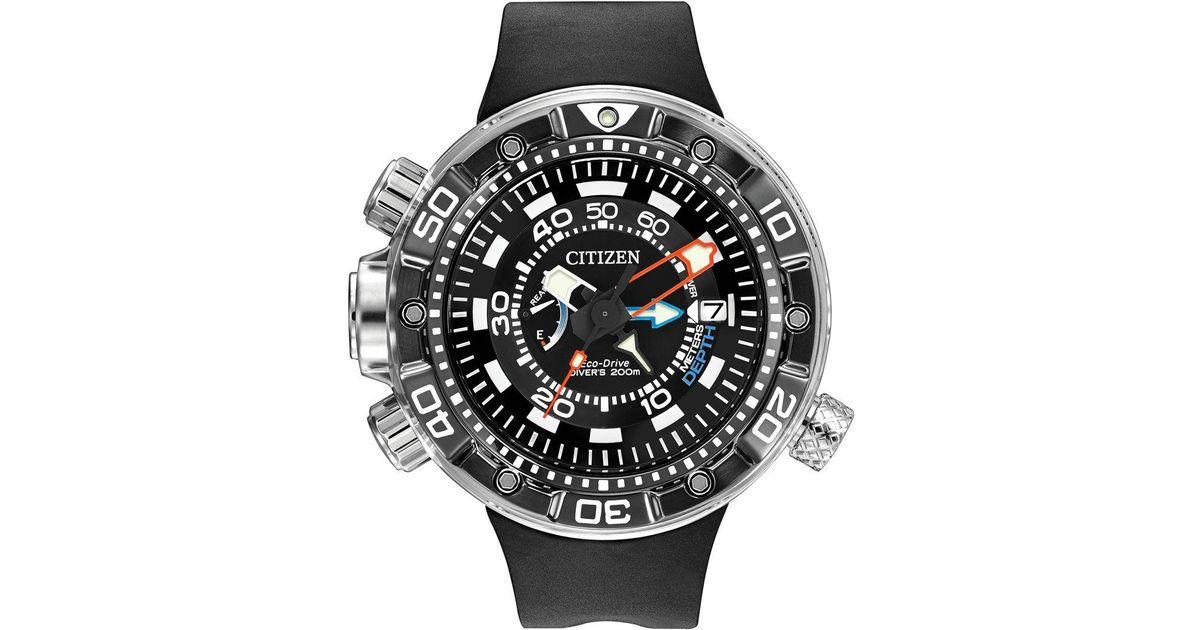 Citizen - Multicolor Men's Eco-drive Promaster Aqualand Depth Meter Black  Polyurethane Strap Watch 53mm Bn2029-01e - Lyst