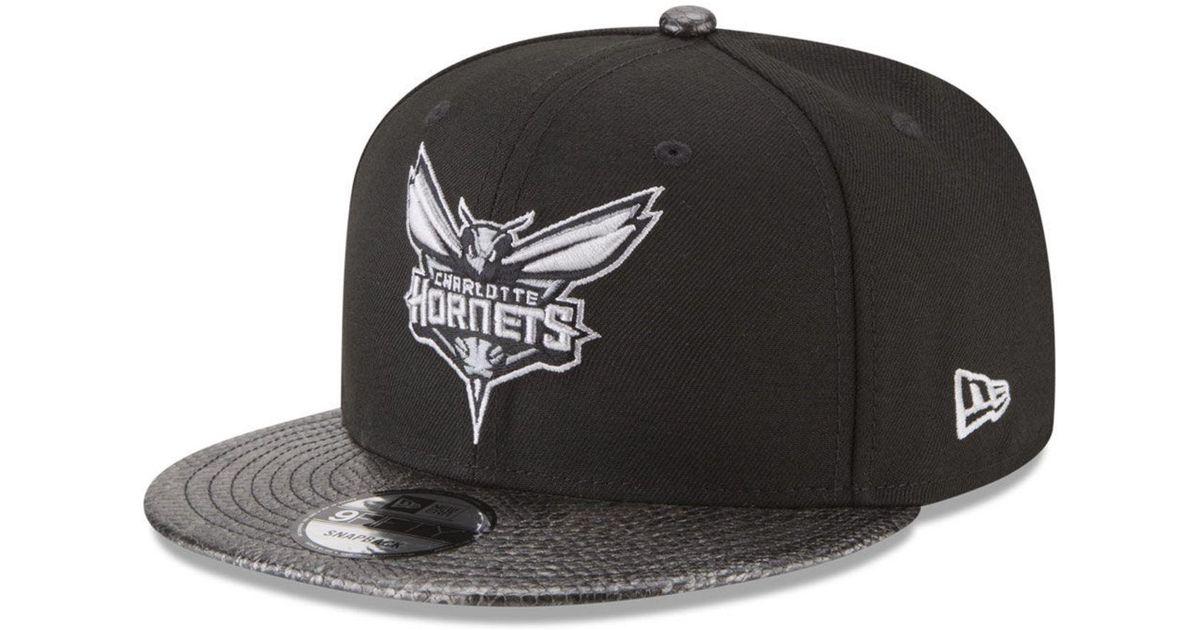 sale retailer 3a7b3 02f3d Lyst - KTZ Charlotte Hornets Snakeskin Sleek 9fifty Snapback Cap in Black  for Men