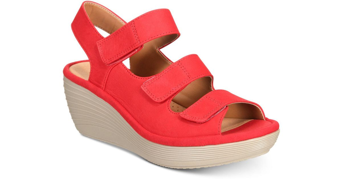 82369c4f332 Lyst - Clarks Reedly Juno Wedge Sandals in Red