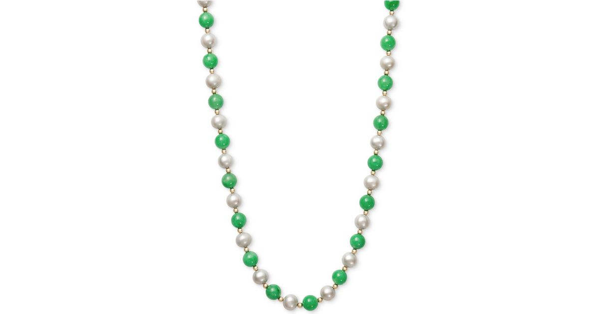 931e381486b0 Lyst Y S Cultured Freshwater Pearl And Jade Necklace In 14k. 18k Yellow Gold  ...