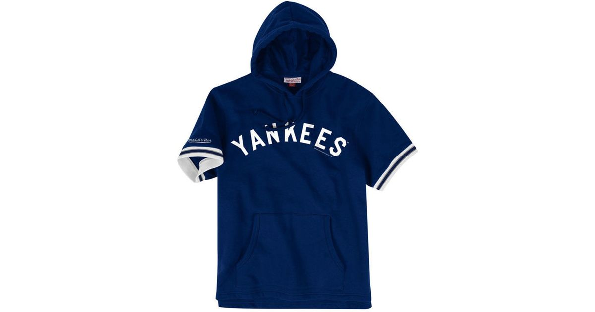 reputable site 8cc40 0a0b0 Mitchell & Ness Blue New York Yankees French Terry Short Sleeve Hoodie for  men