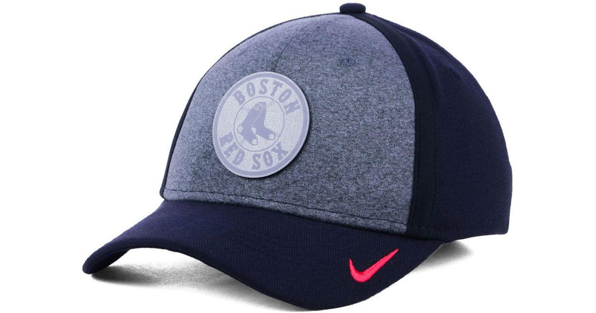 best deals on official supplier factory authentic Nike Synthetic Boston Red Sox Team Color Reflective Swooshflex Cap ...