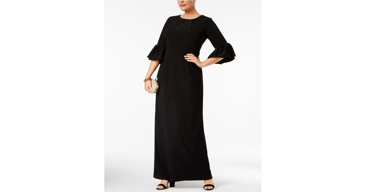 Betsy & Adam Black Melania Plus Size Bell-sleeve Gown