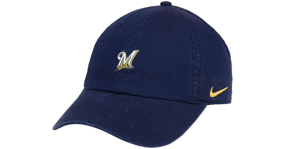separation shoes aec87 7d159 reduced milwaukee brewers nike mlb 2 tone heather cap d3fe6 bcdec  sale lyst  nike milwaukee brewers micro cap in blue for men f55a7 f28e2
