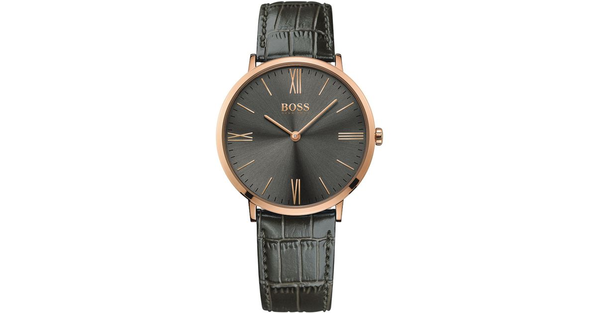02d68ac4e Lyst - BOSS Hugo Men's Jackson Gray Leather Strap Watch 40mm 1513372 in  Gray for Men - Save 34%