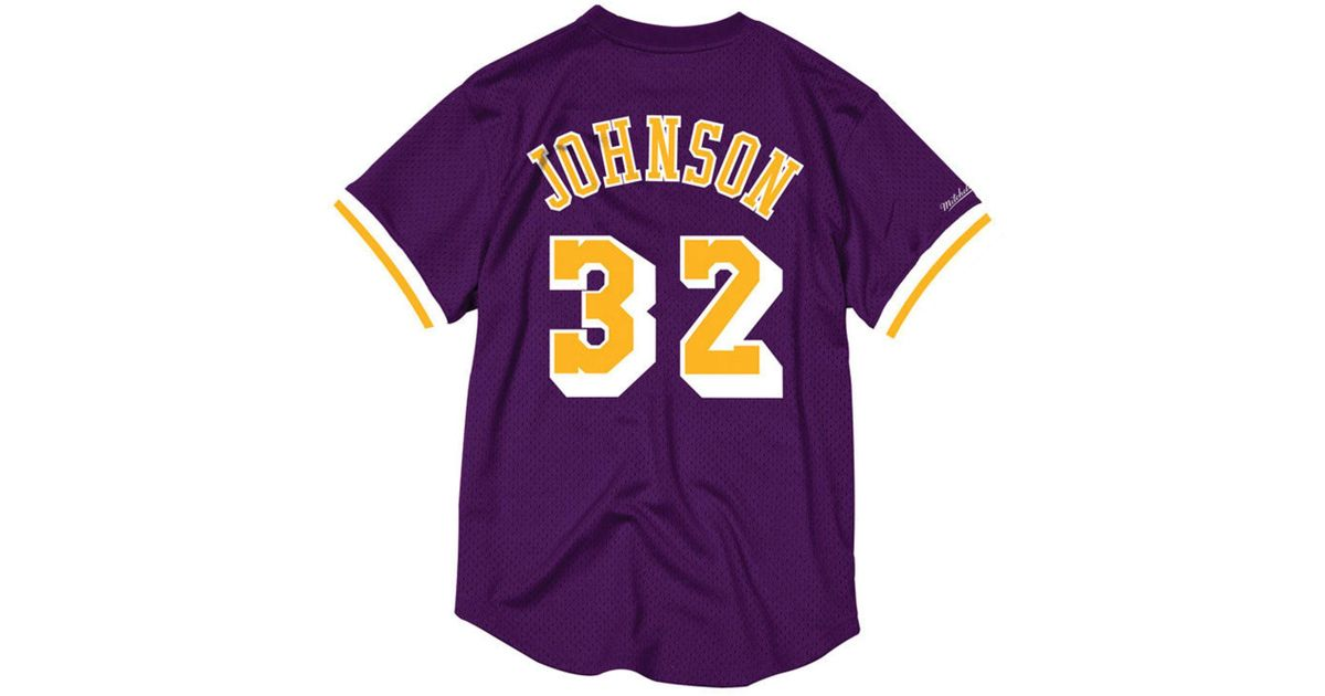 Lyst - Mitchell   Ness Magic Johnson Los Angeles Lakers Name And Number  Mesh Crewneck Jersey in Purple for Men f340a275f