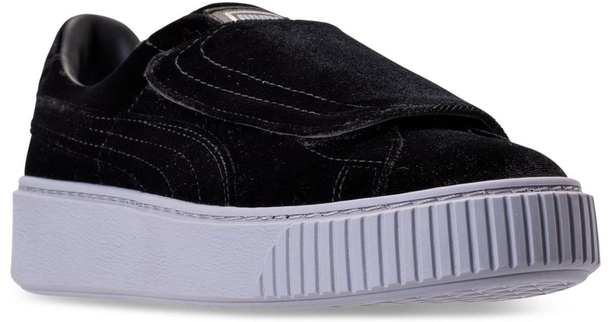 830adc5b456 Lyst - PUMA Women s Basket Platform Strap Velvet Rope Casual Sneakers From Finish  Line in Black - Save 34%