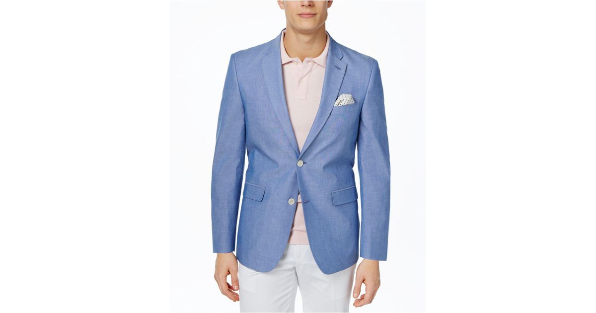 97e884253 Tommy Hilfiger Blue Chambray Trim-fit Sport Coat for men